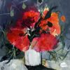 Poppies in a White Vase